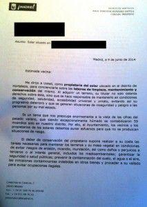 carta ayuntamiento madrid desbroces